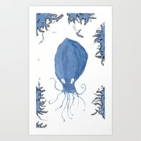 squid Art Prints featuring squid.  by Elvis Vazquez