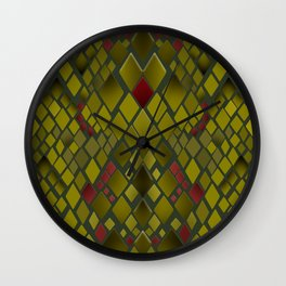 Snake skin abstract reptile leather modern green khaki Wall Clock