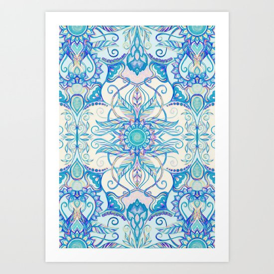 Teal Blue, Pearl & Pink Floral Pattern Art Print