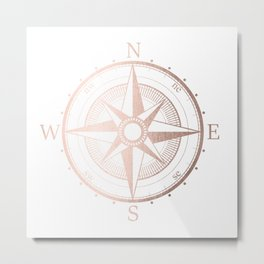 Rose Gold Compass Metal Print