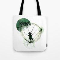 kafka Tote Bags featuring Kafka Hommage by Hellbunt