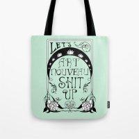 art nouveau Tote Bags featuring Art Nouveau by Emily Brand