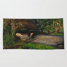 John Everett Millais - Ophelia Beach Towel
