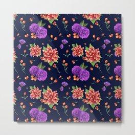 Vintage navy blue red purple botanical floral pattern Metal Print