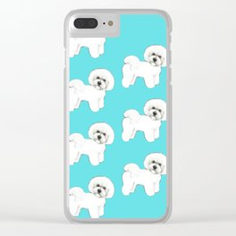 Bichon Frise on aqua / teal / cute dogs/ dog lovers gift Clear iPhone Case