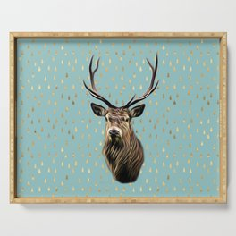 Highland Stag on turquoise and gold raindrop pattern Serving Tray