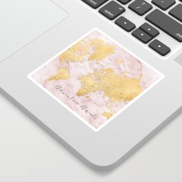 "Adventure awaits, gold and pink marble detailed world map, ""Sherry"" Sticker"