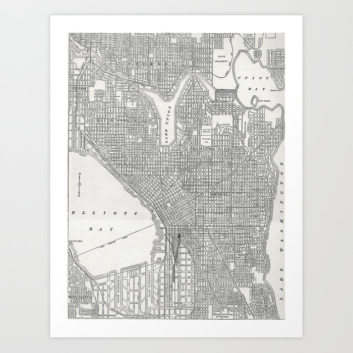 Vintage Seattle Map Art Print By Toddspencer Society6