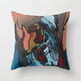 Over the Bluff Abstract Landscape Painting Throw Pillow