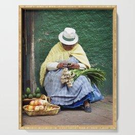 Vegetable and Fruit vendor, Cuenca, Ecuador Serving Tray