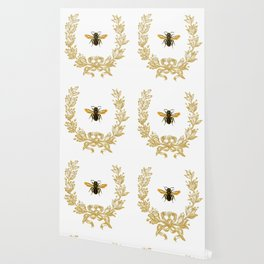 French Bee acorn wreath Wallpaper