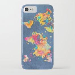 world map blue 2061 #map #worldmap iPhone Case