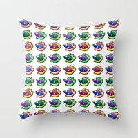 Throw Pillows featuring Colorful Betta by Samholy