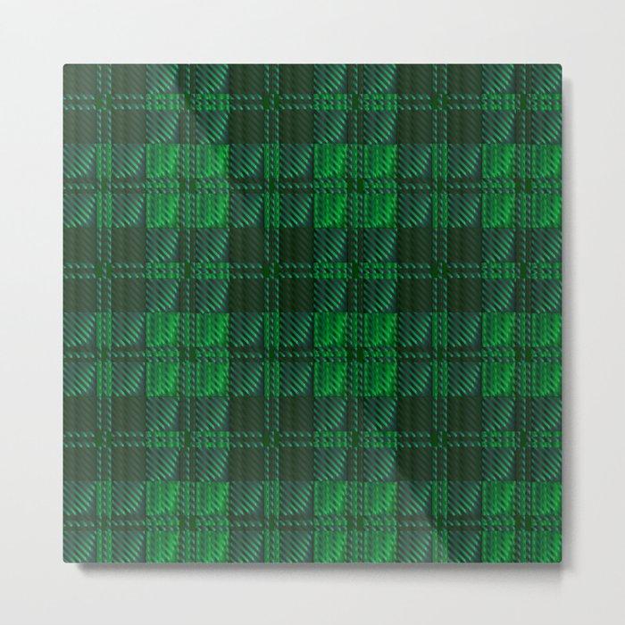 Dark Green Tartan Metal Print