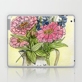 Pink Zinnias in Pitcher Watercolor Laptop & iPad Skin