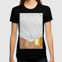 White Marble Wood & Gold #884 T-shirt