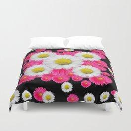Festive Pink Gerbera & White Daisy Flowers Black Patterns Art Duvet Cover