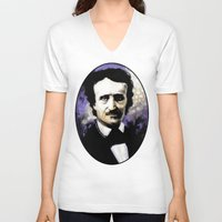 edgar allen poe V-neck T-shirts featuring Edgar Allan Poe by Rouble Rust