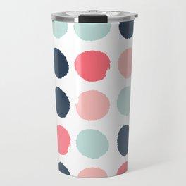 Dots painted coral mint navy pink pattern dotted polka dot minimalist Travel Mug