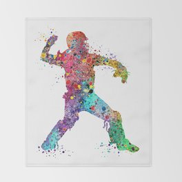 Baseball Softball Catcher 3 Art Sports Poster Throw Blanket