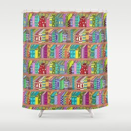 Colorful books on shelves Shower Curtain