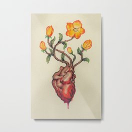 THIS BLEEDING BLOSSOMING HEART: ORANGE WILD ROSE Metal Print