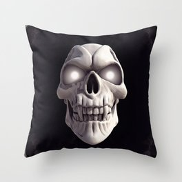 Skull with glowing eyes Throw Pillow