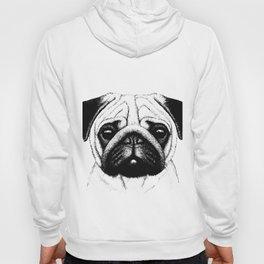 Black White Pug Pencil Sketch Hoody