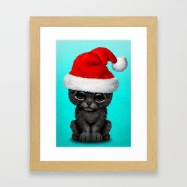 Christmas Black Panther Wearing a Santa Hat Framed Art Print