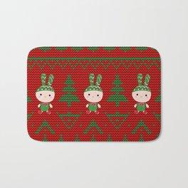 Knitted pattern Christmas Bunny Bath Mat