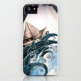 Origami Boat on a Wave iPhone Case