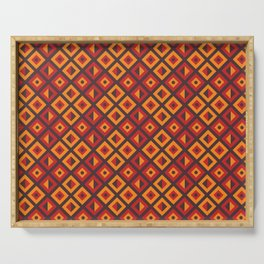 Orange Diamond Tribal Pattern Serving Tray