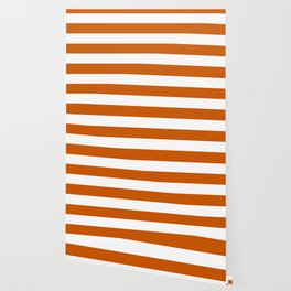 Burnt orange - solid color - white stripes pattern Wallpaper