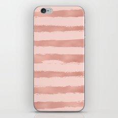 Elegant Rose Gold Metallic Handpainted Stripes iPhone Skin