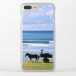 Costa Rica: Horse-Drawn Wagon On Beach Clear iPhone Case