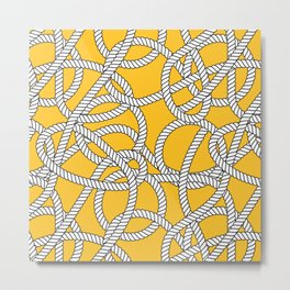 Nautical Yellow Rope Pattern Repeat Metal Print
