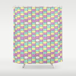 Macaron Stripes in Brown Shower Curtain