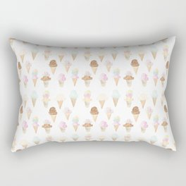 Watercolor Ice Cream Cones Rectangular Pillow