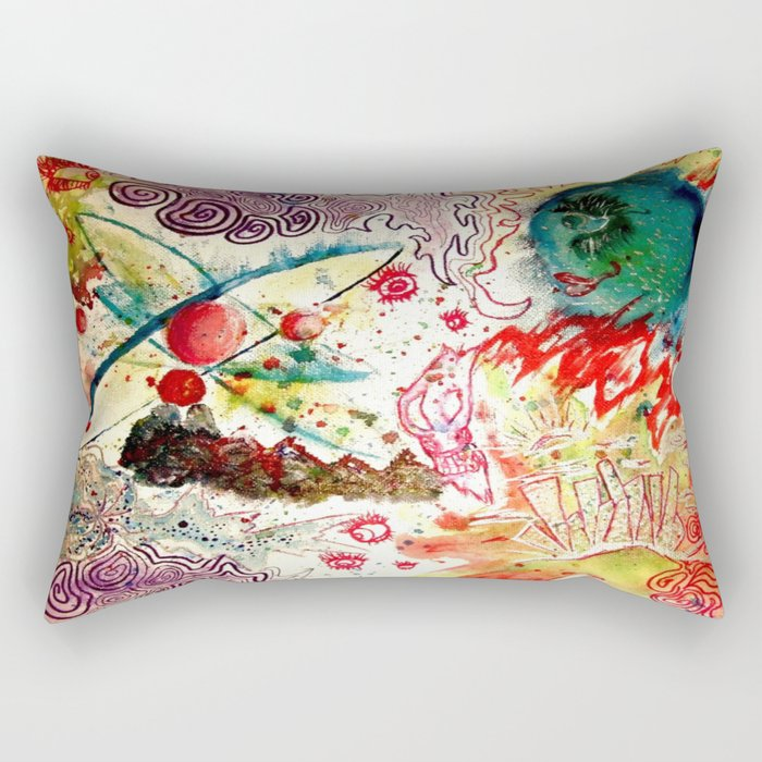 Atoms Space Vision Abstract Acrylic Painting Rectangular Pillow