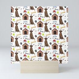 Labrador Retriever Brown Half Drop Repeat Pattern Mini Art Print