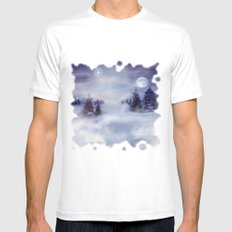 Winter Night MEDIUM Mens Fitted Tee White