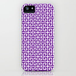 Purple and White Greek Key Pattern iPhone Case