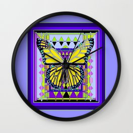 Western Decorative Style Lilac-PurpleColors &  Yellow Butterfly Art Abstract Wall Clock
