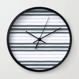 Light Baby Blue and white grey stripes Wall Clock