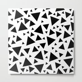 Memphis Milano style pattern with triangles, black and white triangle pattern print Metal Print
