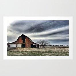 Dark Sky Over Red Barn Art Print
