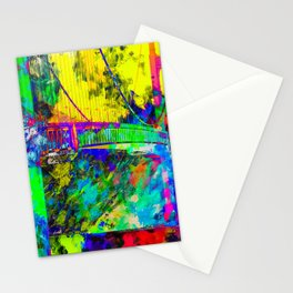 Golden Gate bridge, San Francisco, USA with colorful painting abstract background Stationery Cards