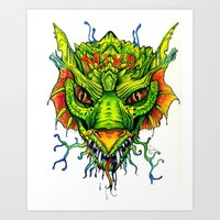 Green Mind Monster Art Print