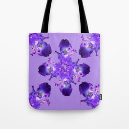 Purple Iris Abstract  Collage Art Tote Bag