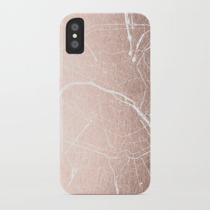 paris france minimal street map rose gold glitter on white iphone case
